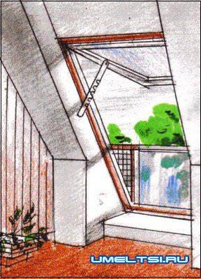 Окно-балкон в мансарде