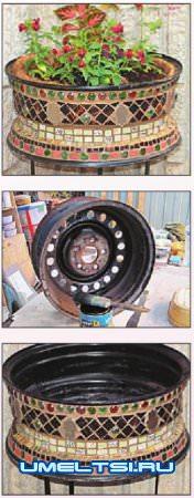 Вазоны для цветов из колес