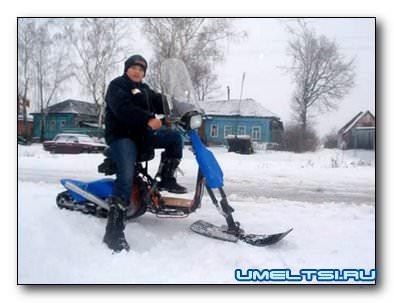 Детский снегоход из скутера своими руками