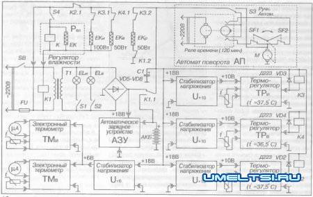 Принципиальная электрическая схема инкубатора