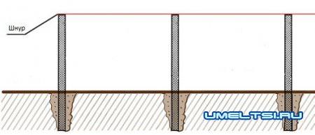 установка столбов под шнур