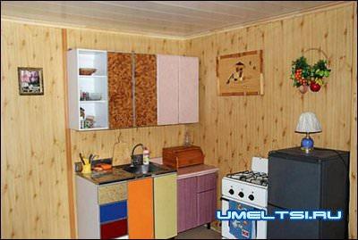 Кухня с газовой плитой, мойкой и шкафчиками для посуды.