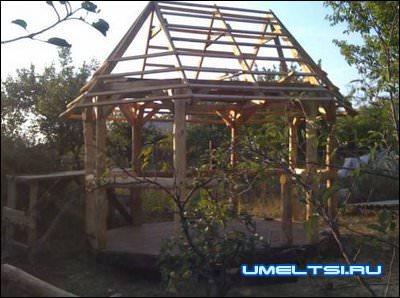 крыша со шетью скатами для беседки