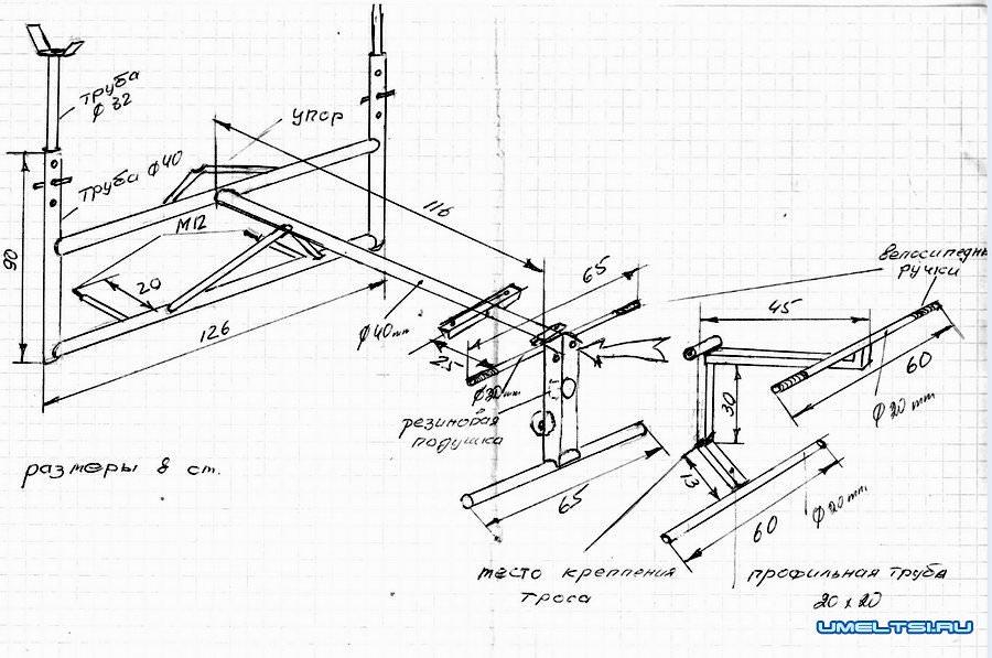 Схема тренажера для ног 397