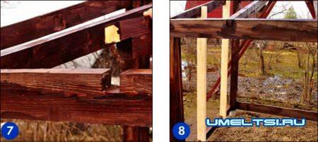 Соберите и скрепите стропильный каркас односкатной крыши
