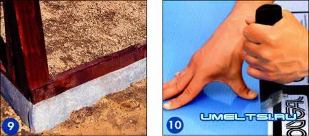 обшейте оцинкованным железом нижние доски обвязки теплицы