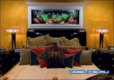 аквариумы в интерьере в спальне