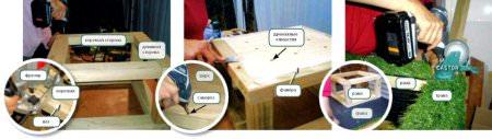 ход работ по изготовлению пуфика
