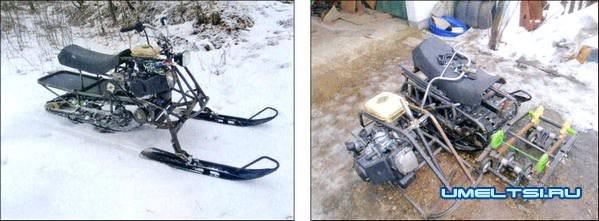 Компактный самодельный снегоход