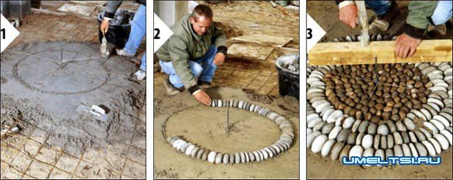 Технология укладки камня на террасе-ход работ