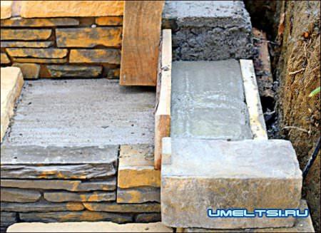 Строительство бетонной лестницы в саду ход работ
