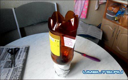 Гном из пластиковых бутылок своими руками