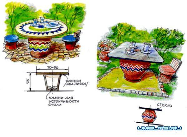садовый стол чертеж