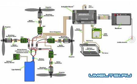 схема электроники квадрокоптера
