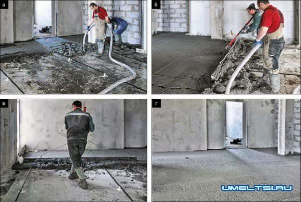 Черновая бетонная стяжка пола