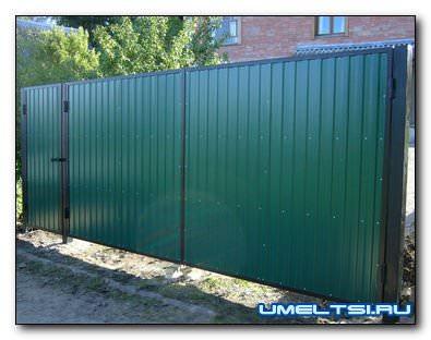 Ворота из металлического профилированного листа