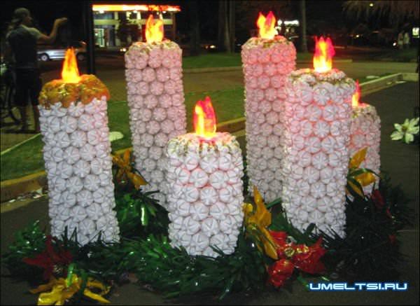 Cветильники для сада из пластиковых бутылок
