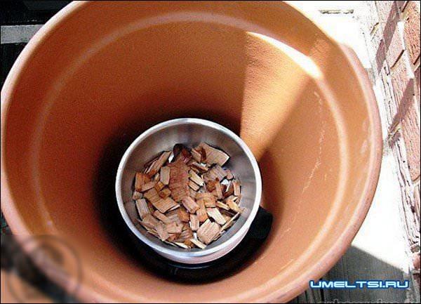 Самодельная коптильня из глиняных горшков и электроплиты