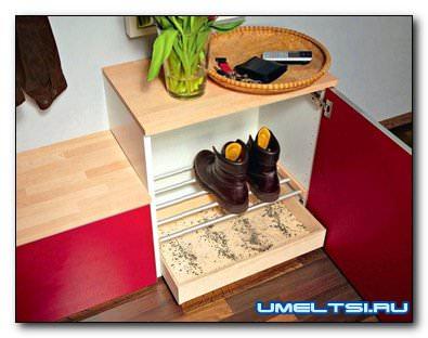 Конструкция шкафа для грязной обуви