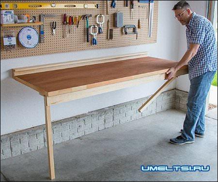 Откидной стол в гаражную