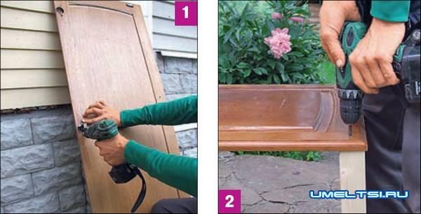 Из старой двери оригинальный стол мастер класс