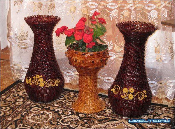 Плетение из трубочек:вазы