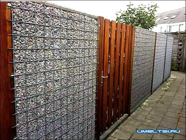 Забор из габионов фото
