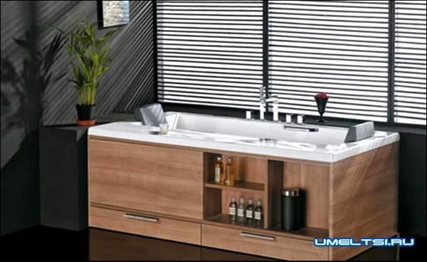 Мебель для ванной комнаты-камень и стекло