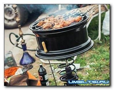мангал, барбекю, печь из автомобильных дисков