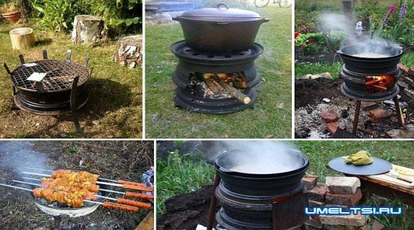 Делаем мангал, барбекю, печь из автомобильных дисков