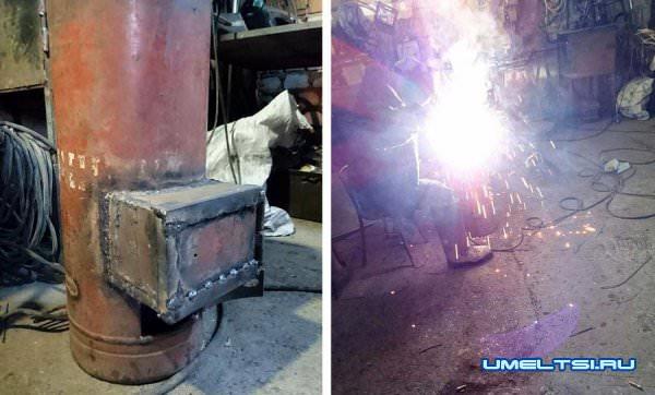Печь-буржуйка для гаража из газового баллона