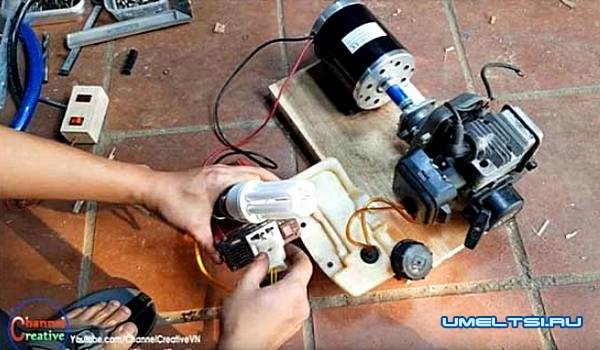 бензогенератор своими руками из бензокосы-поэтапное фото