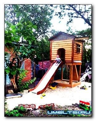 Строим терем-шалаш и песочницу для малыша
