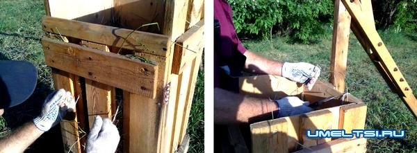 Ручной пресс из деревянного ящика