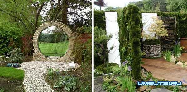 Идеи оформления двора-использование зеркал