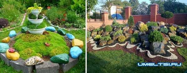 Идеи оформления двора-разноцветные камни