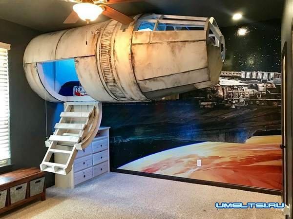 Кровать в виде космического корабля-фото