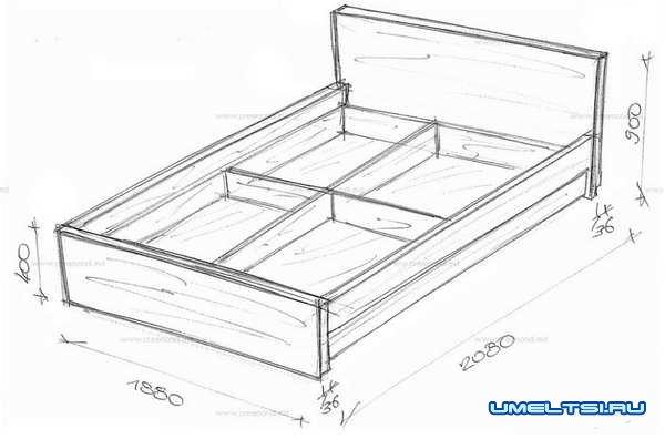 кровать чертеж