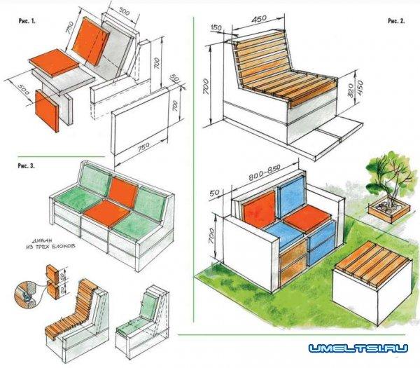 Садовая мебель из пенобетона чертежи