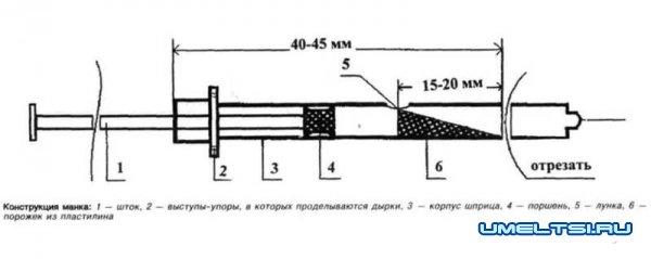 Манок из шприца – схема