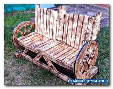 Изготовление оригинальной садовой лавочки из дерева
