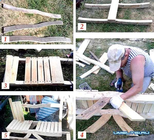 Изготовление садовой лавочки из дерева
