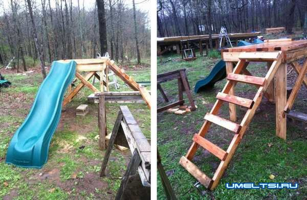 Строительство детского домика с качелями