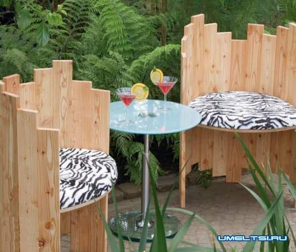 Делаем оригинальные стулья из дерева для сада
