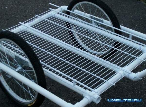Делаем велосипедный прицеп из ПВХ труб