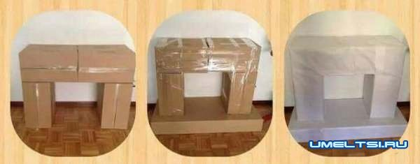 Новогодний камин из коробок и картона