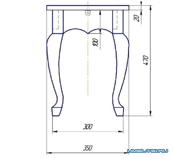 Изготовление табурета с кривыми ножками-чертеж