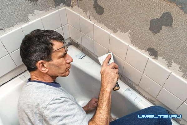 Герметизация стыков между стеной и ванной