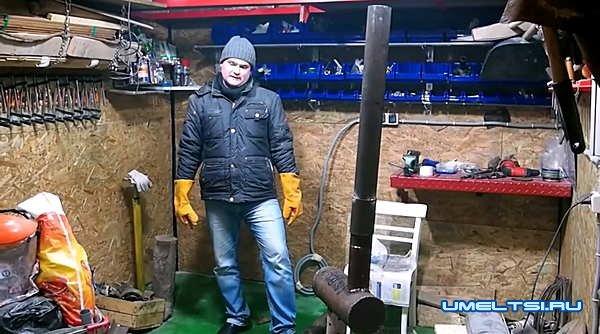 Печь для гаража на отработке