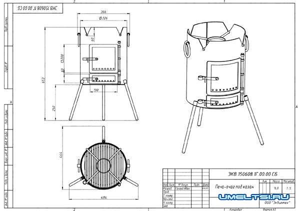 Как сделать уличную печь для дачи-чертеж